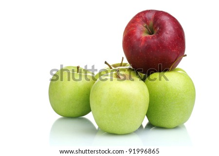 juicy green and red apples isolated on white