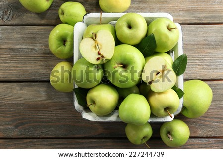 Juicy green apples, close-up - stock photo
