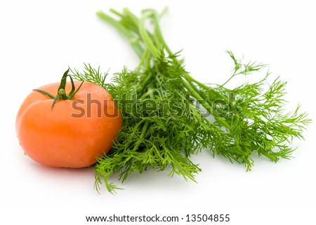 juicy green dill and red tomato on a white background - stock photo