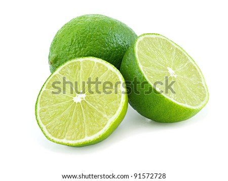 Juicy green lime isolated on white background. - stock photo