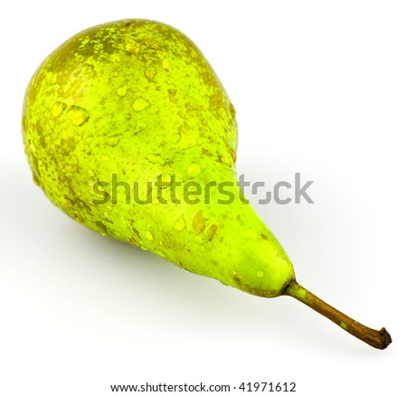Juicy green pear with some water droplets. - stock photo