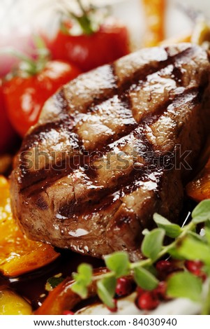 juicy grilled beef fillet - stock photo