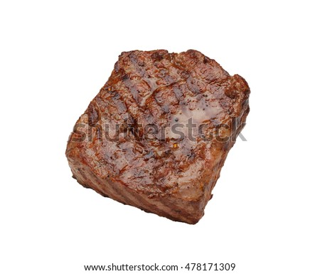 Juicy grilled steak isolated on white background