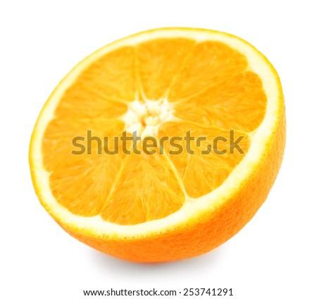 Juicy half of orange isolated on white - stock photo