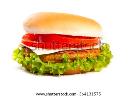 Juicy hamburger on white background