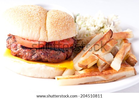 juicy hamburger with fries, cole slaw, and gravy