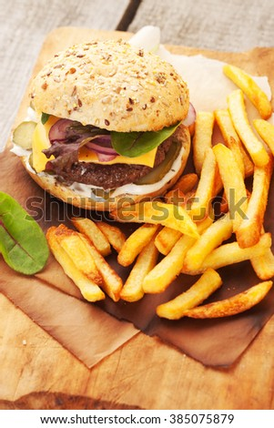 juicy home made burger served with crispy fries.  - stock photo