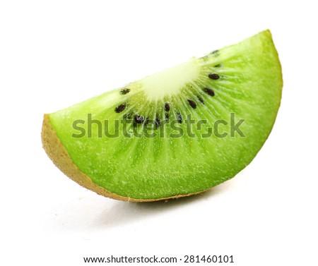 Juicy kiwi fruit isolated on white - stock photo