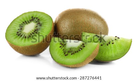 Juicy kiwi fruit isolated on white - stock photo