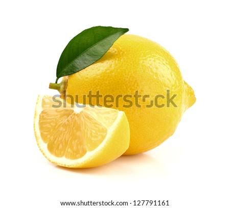 Juicy lemon with slice - stock photo