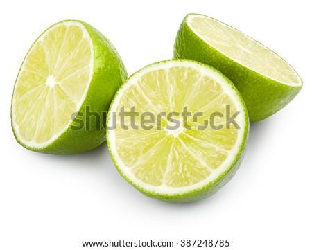 Juicy lime isolated on white background - stock photo