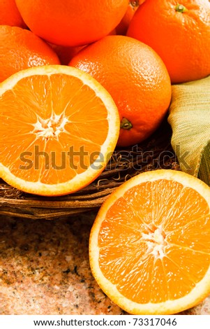 Juicy Navel Oranges make a delicious snack or a tasty addition to fruit salads. - stock photo