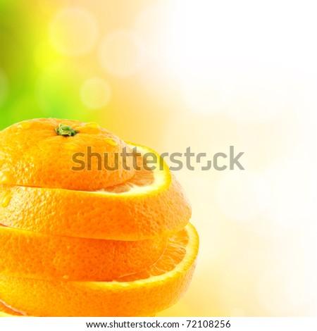 juicy orange cut into slices - stock photo