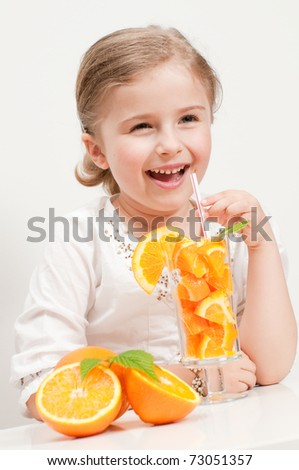 Juicy orange fruits - little girl with oranges
