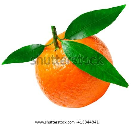 Juicy orange tangerine isolated on white background - stock photo