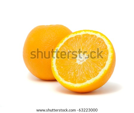 Juicy Oranges isolated on white background - stock photo