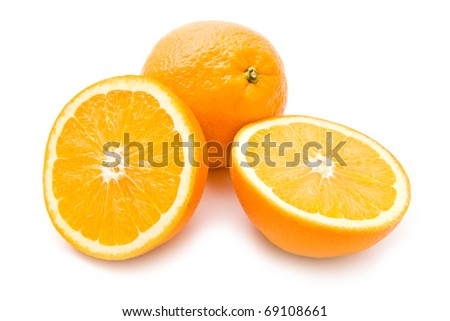 juicy oranges on a white background - stock photo