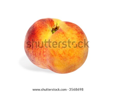 juicy peach isolated on white (clipping path included)