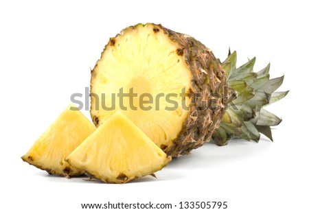 Juicy pineapple with slices isolated on white background - stock photo