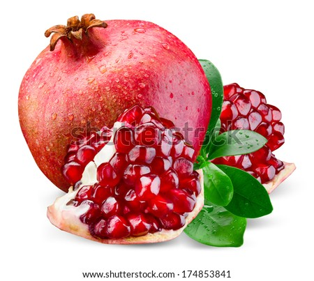 Juicy pomegranate and its piece with leaves. Isolated on a white background. - stock photo