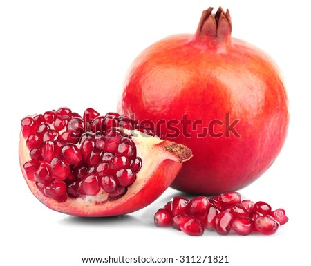 Juicy pomegranate isolated on white - stock photo