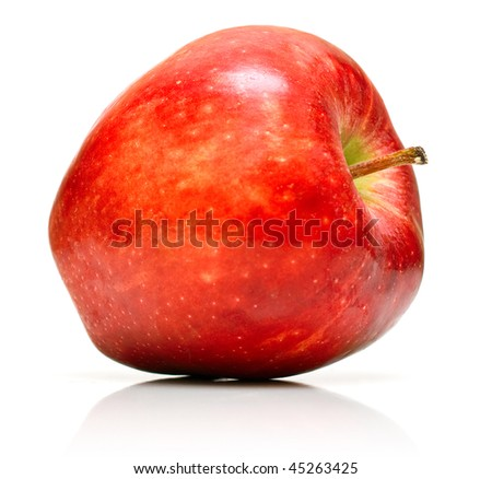 Juicy red apple on white. Isolation on white.