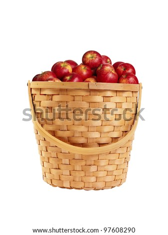 juicy red apples in basket isolated on white background - stock photo