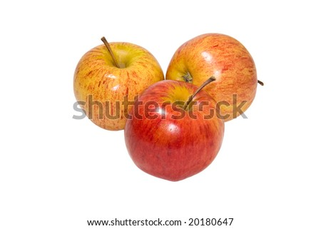 Juicy, ripe apples isolated on a white background - stock photo