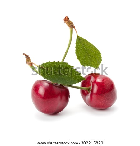 juicy ripe cherries isolated on white background - stock photo
