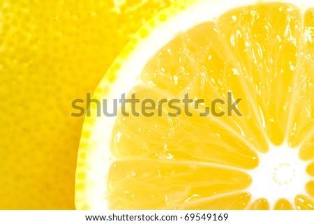 juicy ripe lemons close-up - stock photo