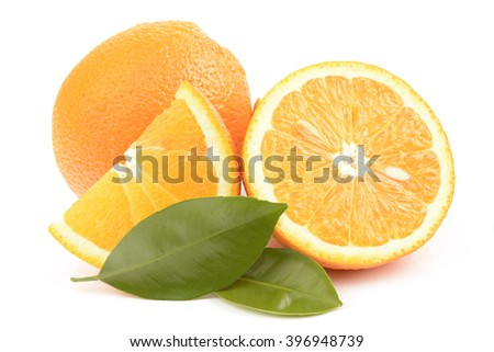 juicy ripe orange isolated on white background - stock photo