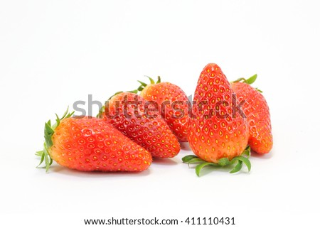 Juicy ripe red Strawberry on white background