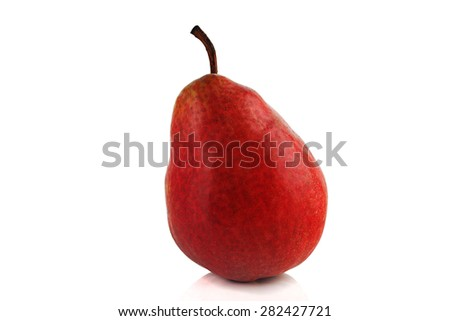 juicy ripe with red pear on a white background - stock photo