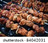 Juicy roasted kebabs on the BBQ - stock photo