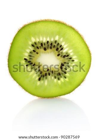 juicy segment kiwi isolated on white background - stock photo