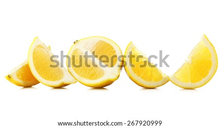 Juicy slices of lemon isolated on white - stock photo