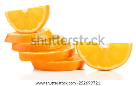 Juicy slices of orange isolated on white - stock photo