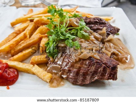 juicy steak veal - beef meat with potatoes