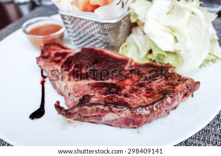 juicy steak veal - beef meat with tomato