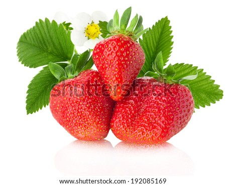 juicy strawberries on the white background