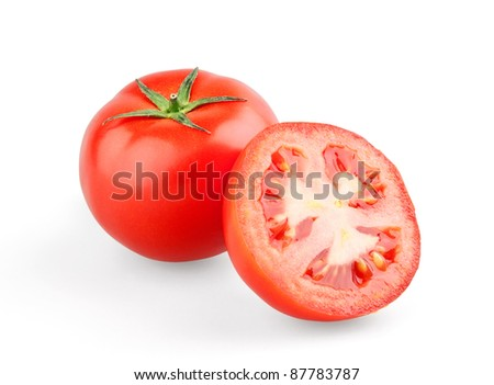 Juicy tomato and half on white background - stock photo