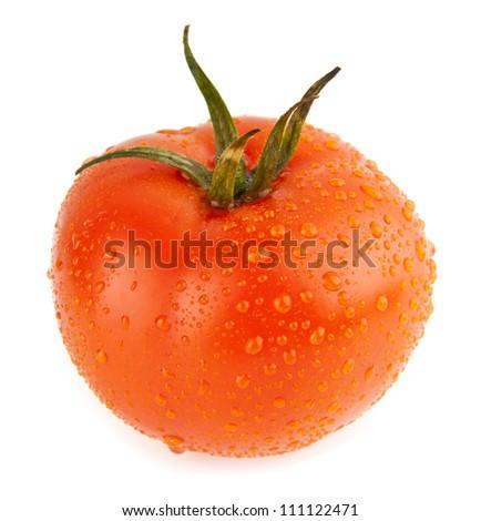 juicy tomato on a white background - stock photo