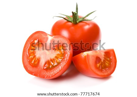 Juicy tomatoes isolated - stock photo