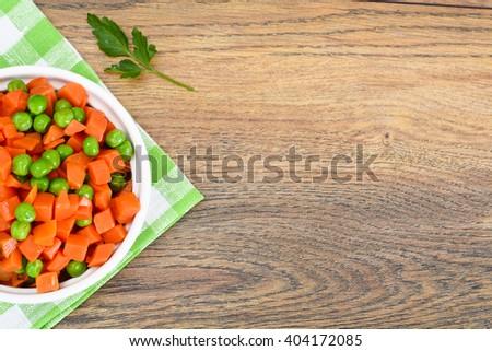 Juicy Vegetable Stew. Paprika, Peas and Carrots. Diet Food. Studio Photo - stock photo