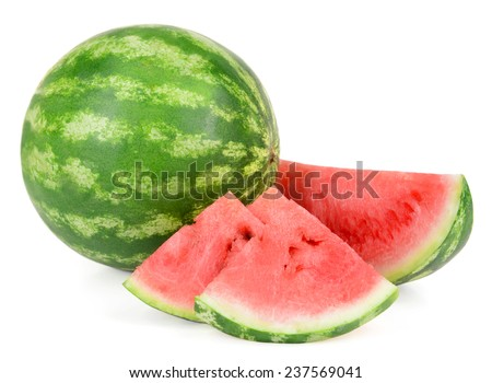 Juicy watermelon isolated on white - stock photo