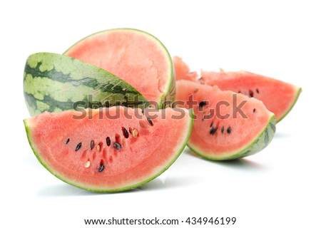 Juicy watermelon slices isolated on white background