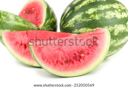 Juicy watermelons isolated on white - stock photo