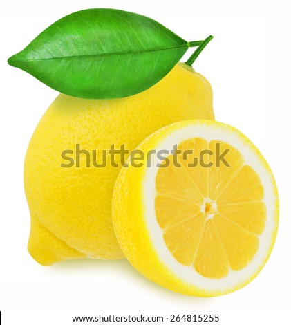 Juicy yellow lemon and slice with leaves on a white background isolated - stock photo