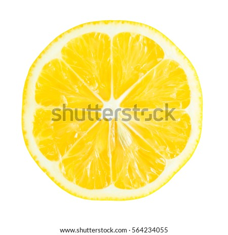 Juicy yellow slice of lemon isolated on white background
