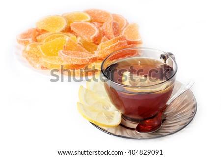 jujube and slices of sweet tea with lemon - stock photo